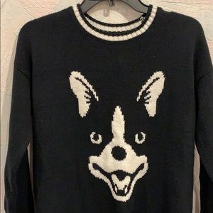 NWT Hollister Dog Print Pullover Crew Sweater